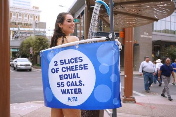 this earth day, PETA activists shower in public