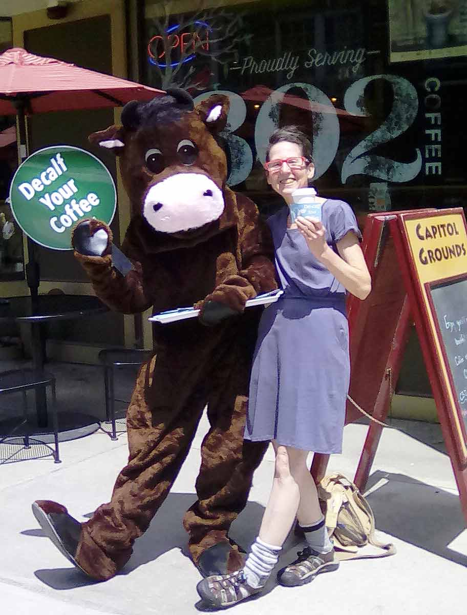 montpelier vermont peta decalf your coffee demo with mascot