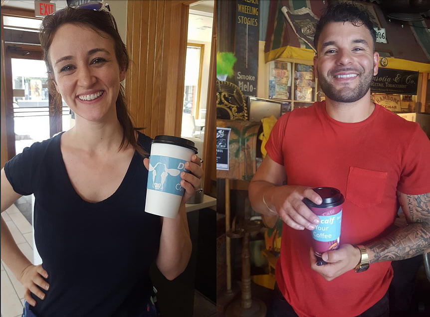 these customers proudly show off their dairy-free beverages, complete with DECALF your coffee cup sleeves from PETA