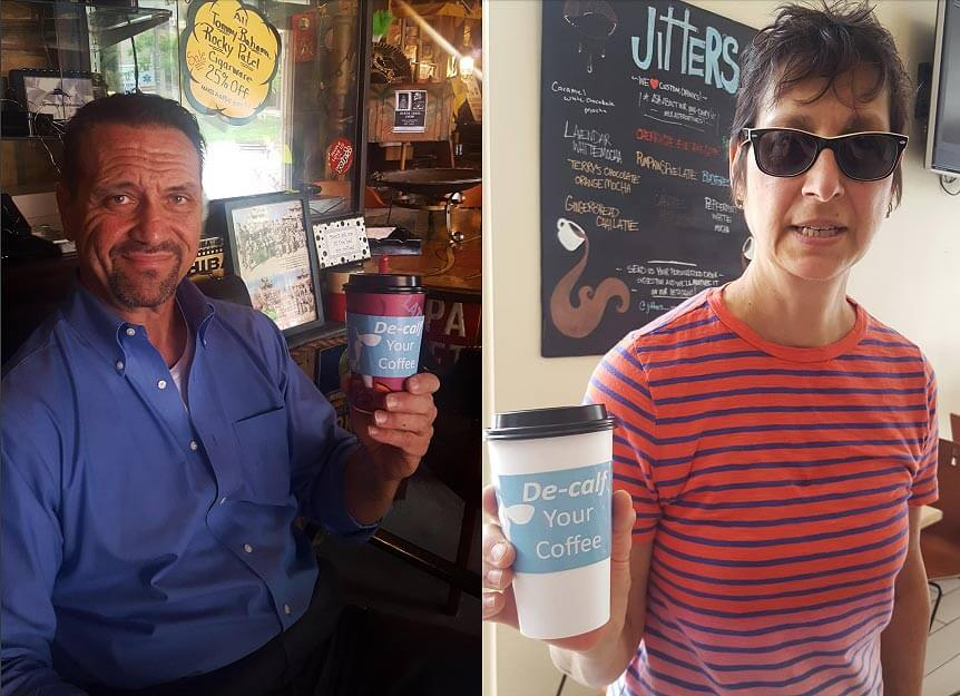 customers using PETA's custom DECALF your coffee cup sleeves