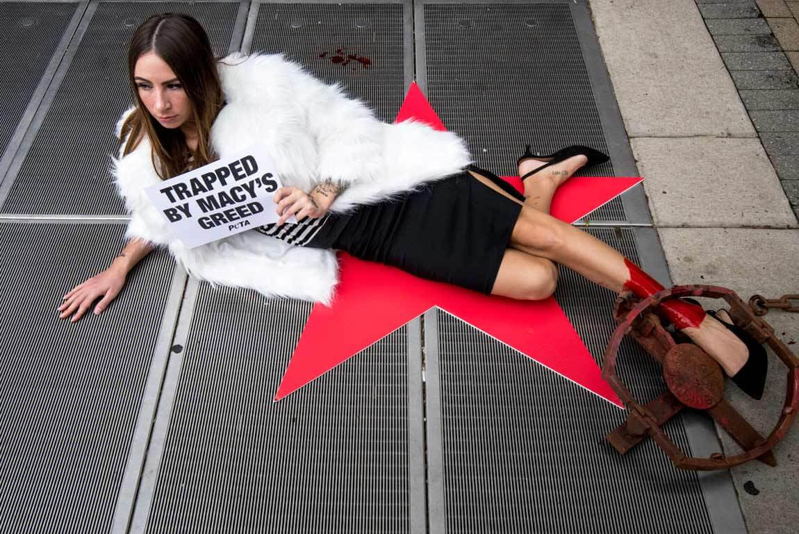 macy's annual meeting cincinnati 2018 peta anti-fur protest