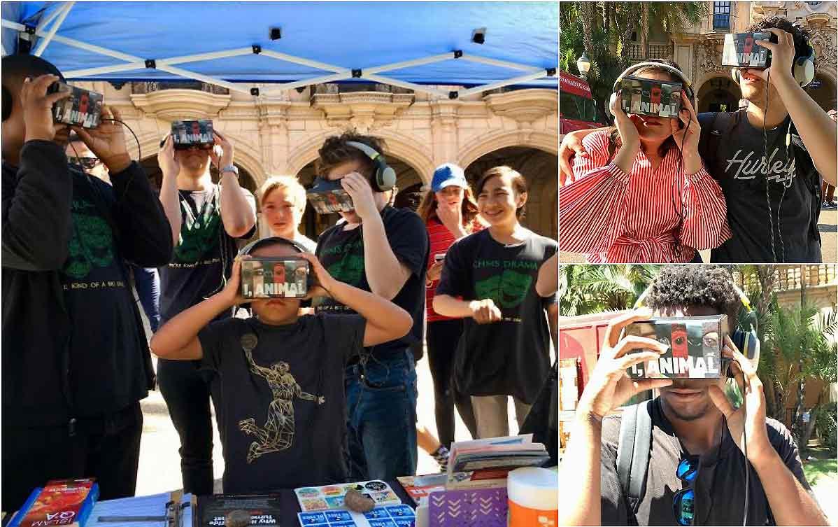 in san diego, people use PETA's iOrca virtual reality experience