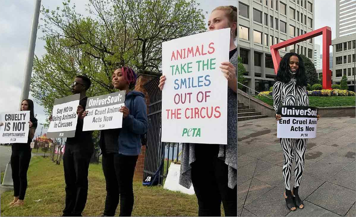 peta protest in richmond VA against universoul circus