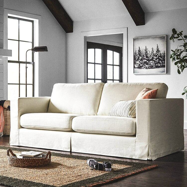 Hereu0027s A Relaxed Looking Sofa That Can Fit In A Space Thatu0027s Either Modern  Or Traditional. I Love The Soft White Material: