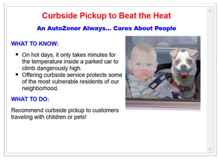 autozone sign to warn against hot cars