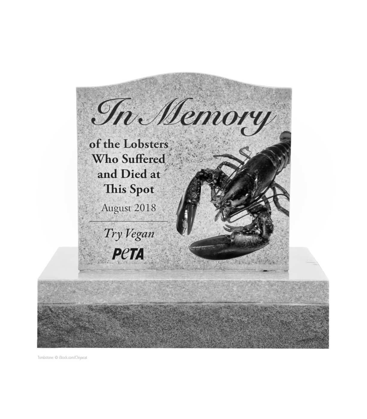 peta wants to place a gravestone for lobsters along maine road