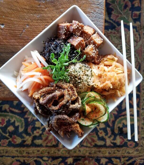 mock eel and tofu from the grange restaurant