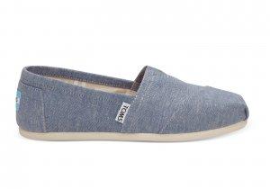 Blue TOMS vegan slip on shoe