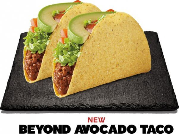 new Beyond Taco and Beyond Avocado Tacos at Del Taco are vegan if you order them without cheese!