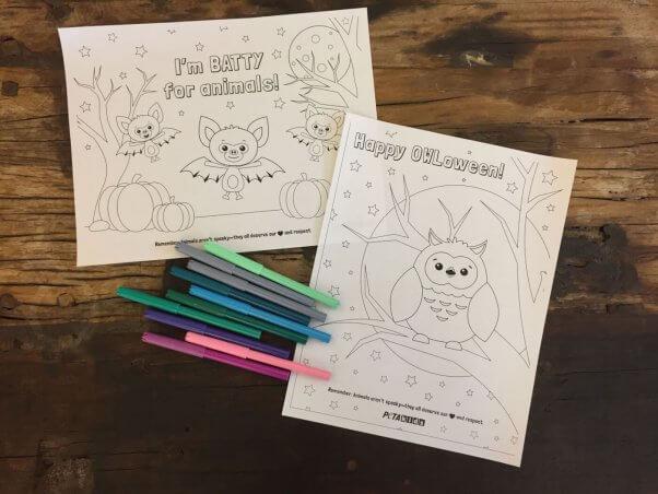 peta kids halloween coloring sheet
