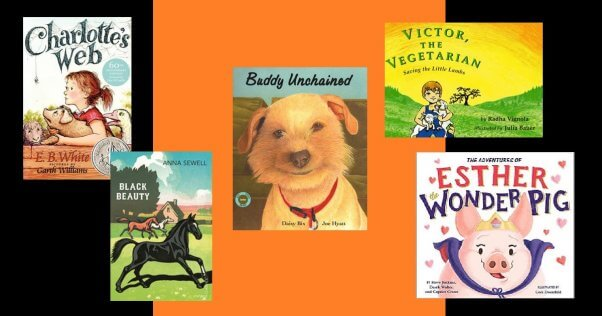 collage of animal-friendly books for the classroom on halloween