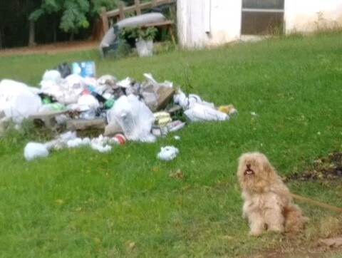 Theodore in front of a pile of garbage at his former home