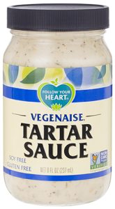vegan seafood products are even better with vegan tartar sauce from follow your heart brand