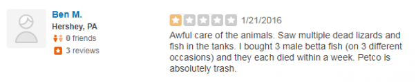 one star yelp review about petco
