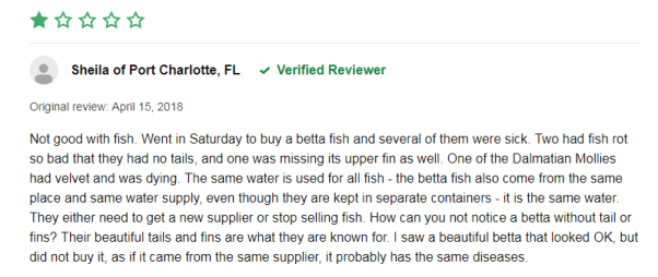 one star petco review about dead betta fish