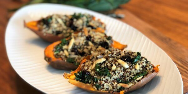 vegan quinoa stuffed sweet potatoes