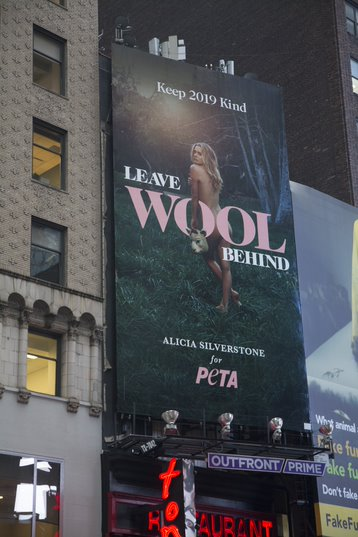 Alicia Silverstone Starts 2019 Naked in Times Square | PETA