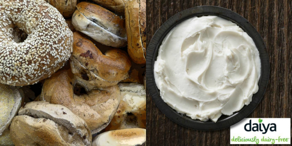 vegan cream cheese is being tested nationwide at more than 700 einstein bros bagels and carribou coffee locations