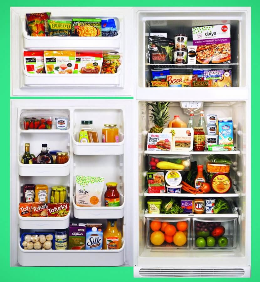 cruelty-free dorm or apartment, vegan refrigerator, vegan food