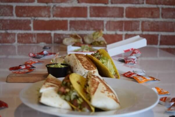 an array of vegan options from Taco Bell