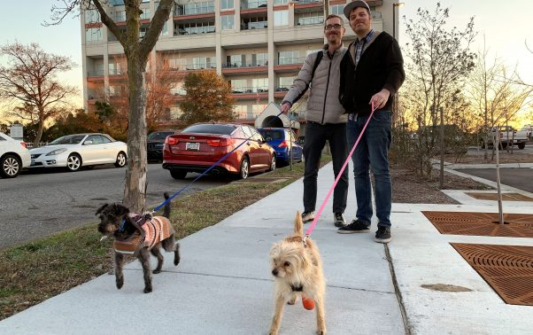 PETA-rescued dog Charley on walk with her new family