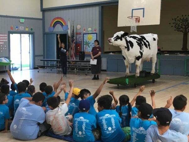 Kids in audience asking questions about Carly the cow