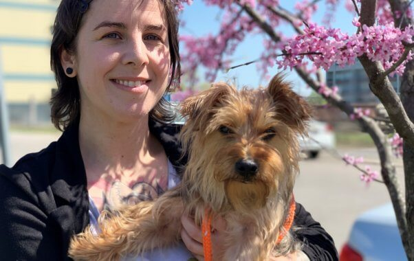 Rescued Yorkie mix Bella with human friend in front of flowering tree