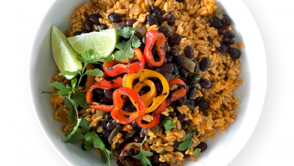 Black Beans and RightRice with Roasted Red Peppers