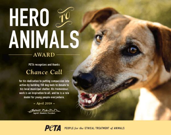 Hero to Animals Award, PETA, Eagle Scount