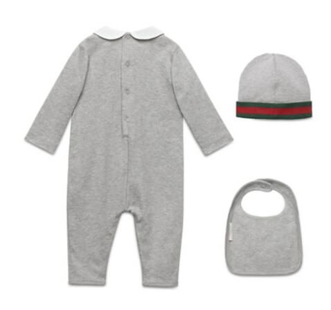 a 3-piece vegan baby outfit from Gucci