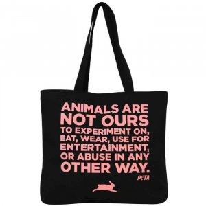 PETA Mission Statement Pink and Black Tote Bag