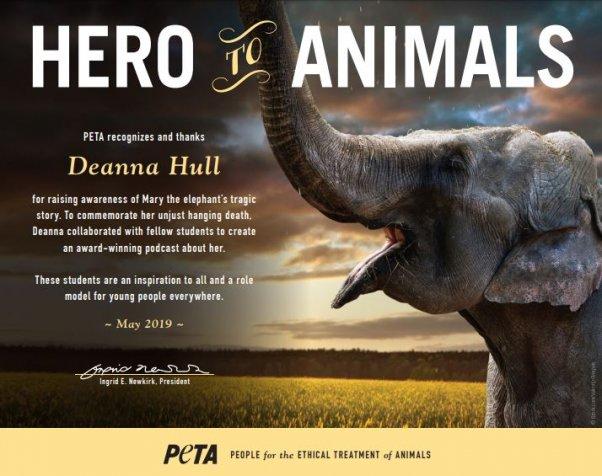 Hero to animals award