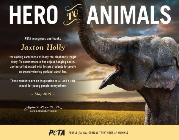 Image of Jaxton Holly's Hero to Animals Award