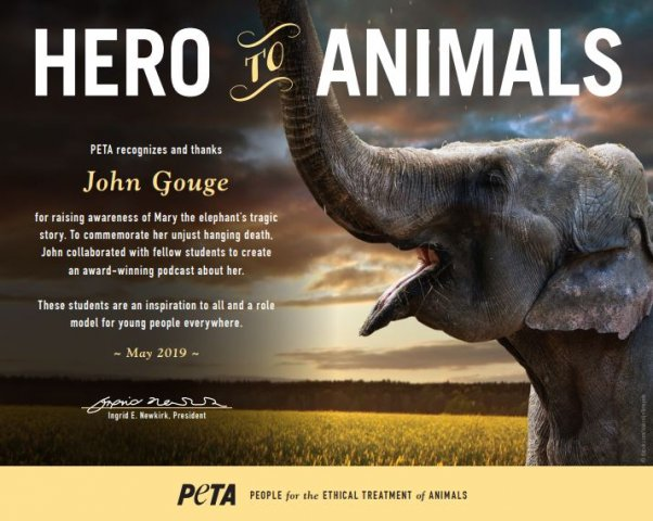 Hero to animals award for John Gouge