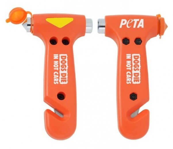 dogs die of heatstroke when left in hot cars. for emergency situations, PETA sells a rescue hammer