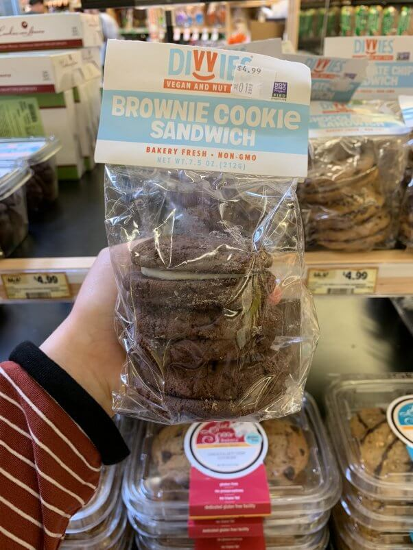 Image of Divvies vegan chocolate sandwich cookies at Sprouts