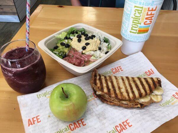vegan food at tropical smoothie cafe