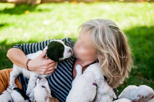 woman holding litter of dalmation puppies, spay neuter, overpopulation, animal homelessness crisis