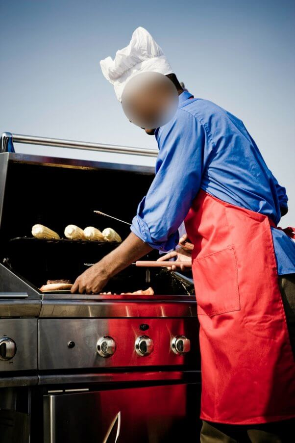 man grilling, barbecue, meat