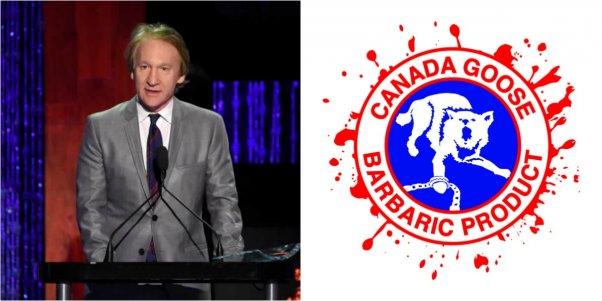 bill maher at petas 35th anniversary gala, new spoof canada goose logo