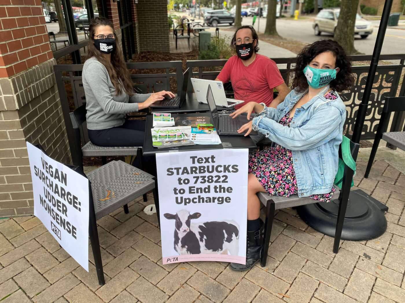 Animal rights activists occupying Starbucks