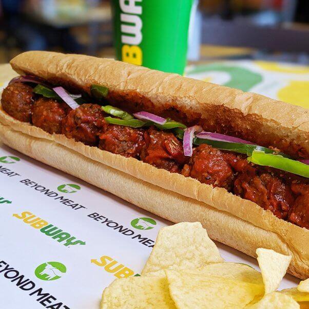 beyond meat vegan meatball sub at subway