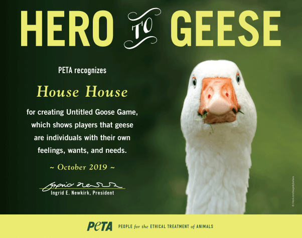 Hero to Geese PETA award presented to House House for Untitled Goose Game