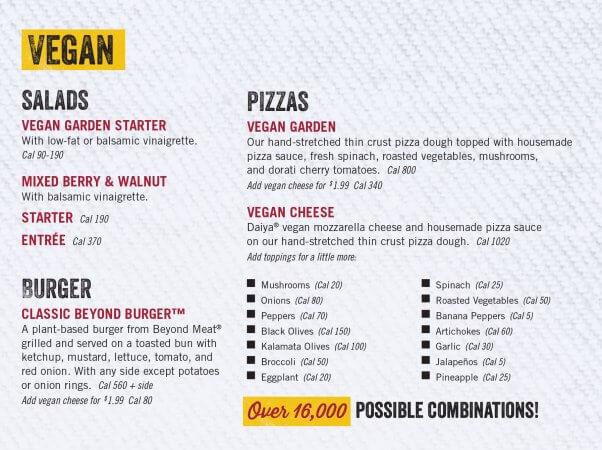 Uno Pizzeria Vegan Menu Options