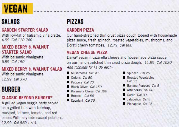 Uno Pizzeria Vegan Menu