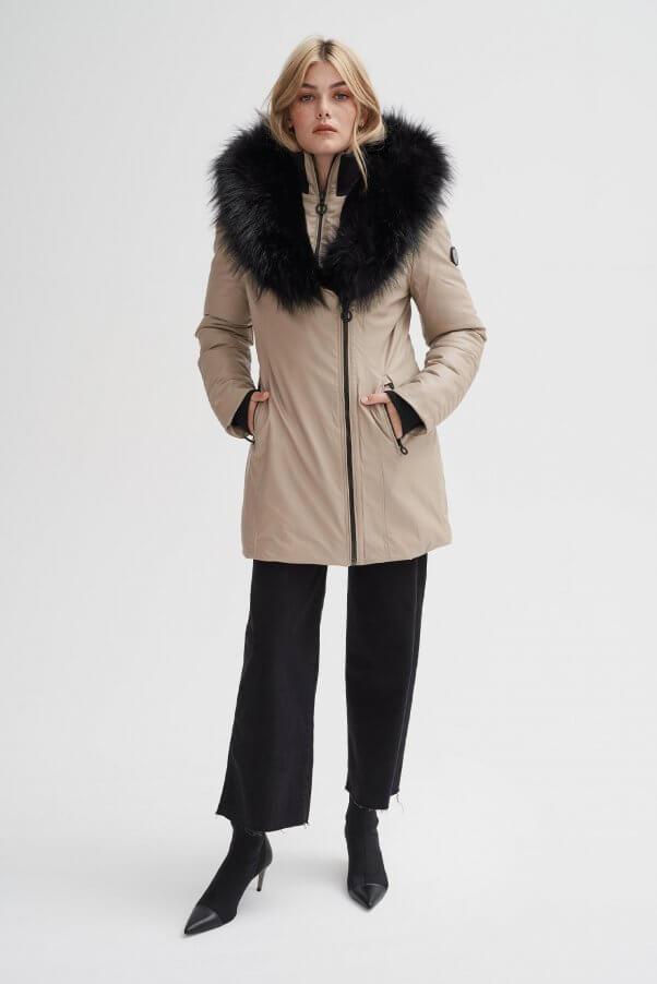 vegan leather faux fur coat