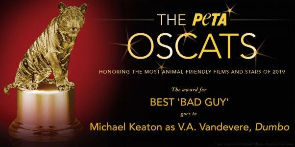 Michael Keaton as VA Vandevere in Dumbo Film Wins PETA Oscats Award for Best Bad Guy
