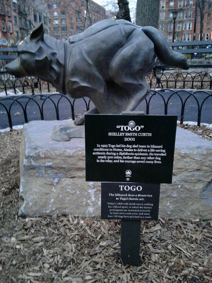 PETA Anti Iditarod Plaque on Togo Memorial