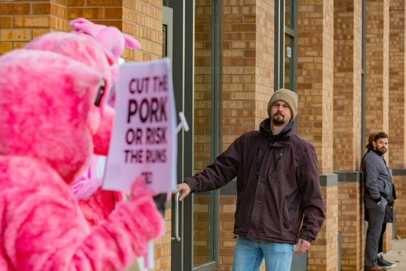 man sees peta's pig protest in des moines iowa 2020