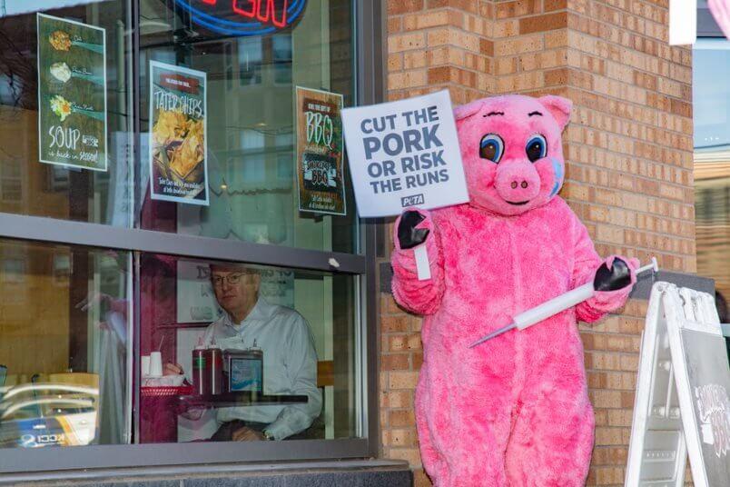 peta pork protest syringes des moines 2020